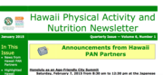 Hawaii Physical Activity and Nutrition (PAN) Newsletter - January 2015 Issue